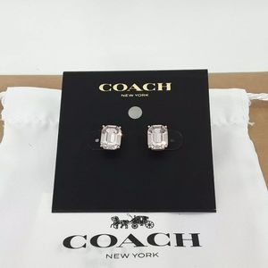 Coach Emerald Cut Crystal Stud Earrings RS/PK